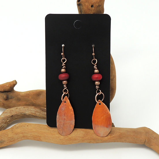 Flame Painted and Hand Formed Copper TearDrops