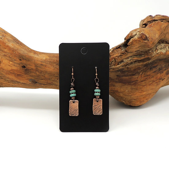 Antiqued Copper Earrings with Natural Turquoise