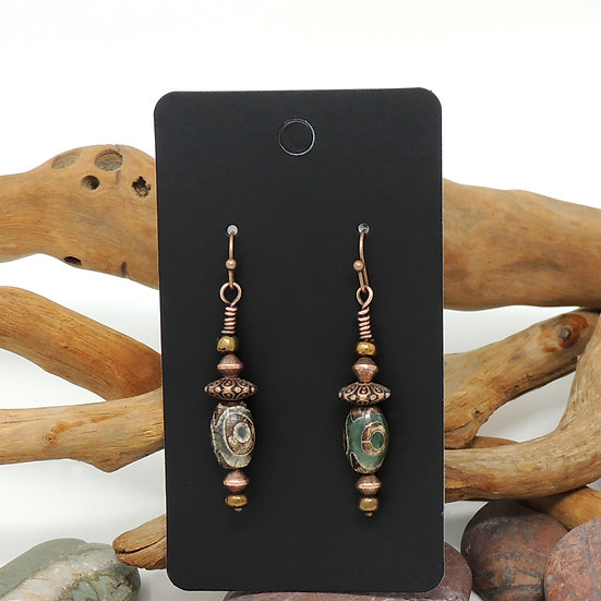 Copper and Agate beaded drop earrings