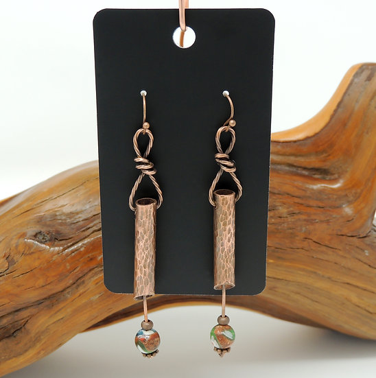 Recycled Tube Earring with Gold Sandstone
