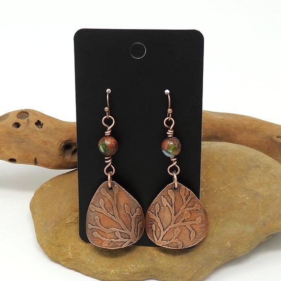 Etched Copper  with Bead Accent earrings