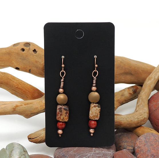 Jasper and Mookalite drop earrings