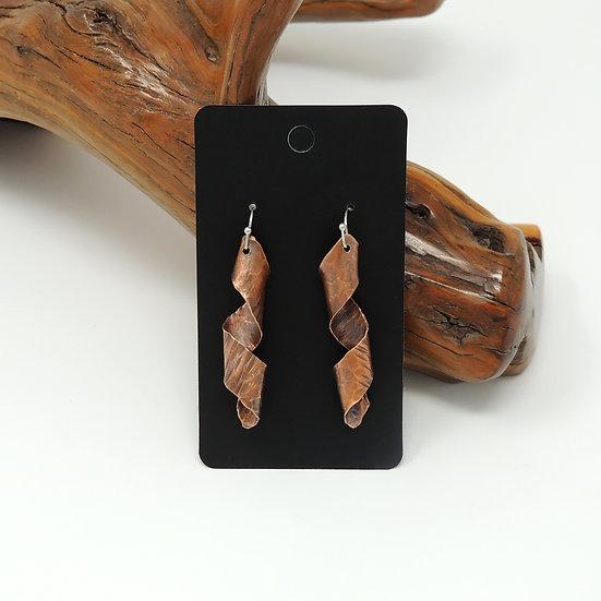 Curled Copper Drop Earrings
