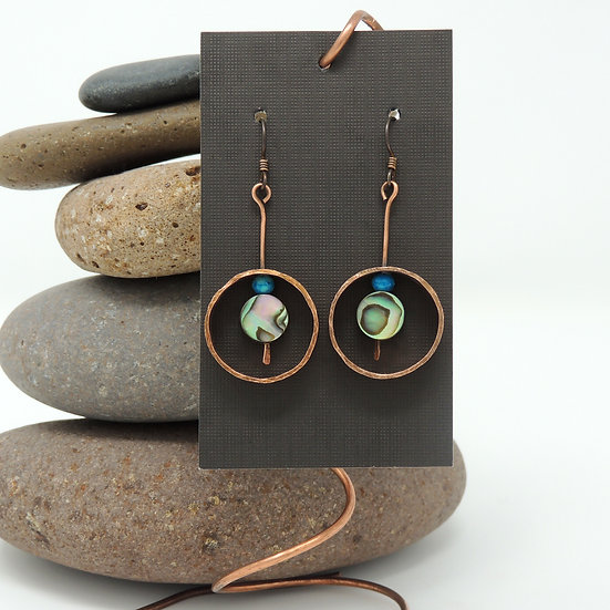 Drop Copper Earrings with Abalone
