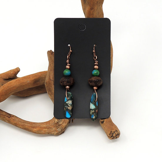 Australian Jasper, Wood and Reformed Turquoise Dangles
