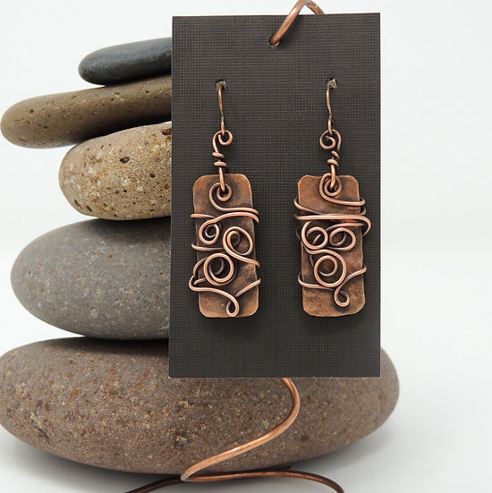 Copper Swirl Dangles