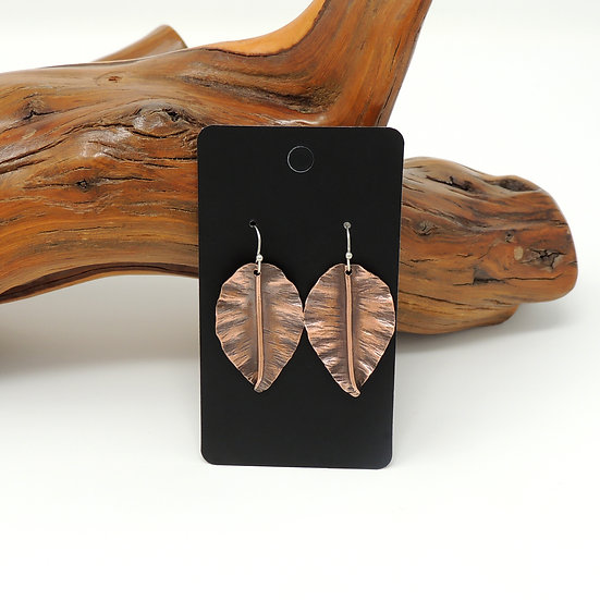 Small Hand Formed Copper Leaf Earrings