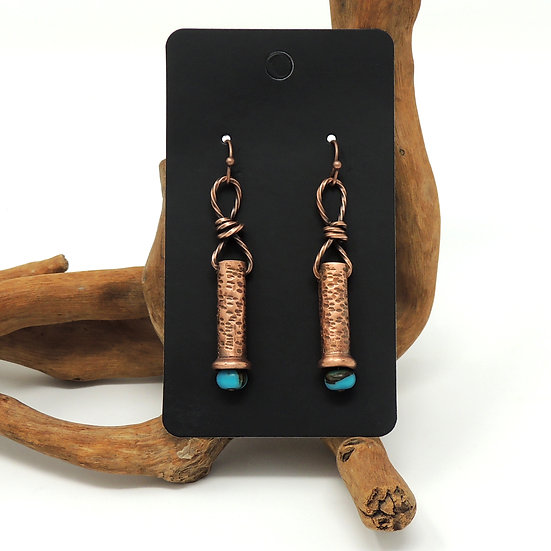Recycled Hand Formed Copper Pipe Dangle Earrings