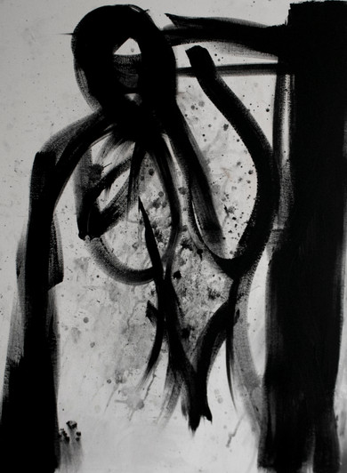 """Spit and Charcoal, 36""""x 48,"""" spit and charcoal, paint and canvas, 2019."""