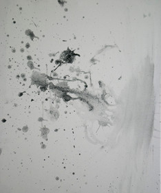 """Spit and Charcoal (Untitled 2) 16""""x 20,"""" spit and charcoal on canvas, 2019"""