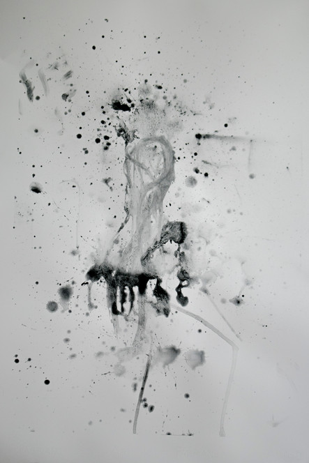 """Spit and Charcoal (figure model), 10"""" x 30.5,"""" spit and charcoal, 2019."""
