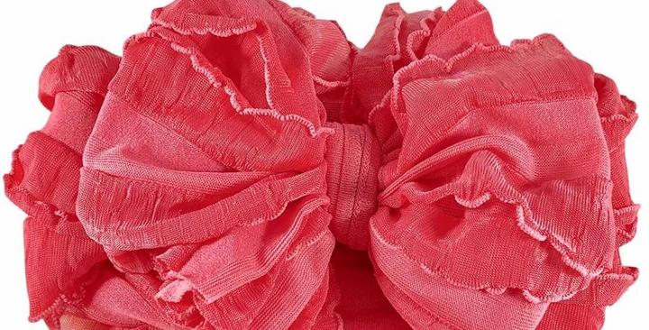 Ruffled Headband- Pink Grapefru