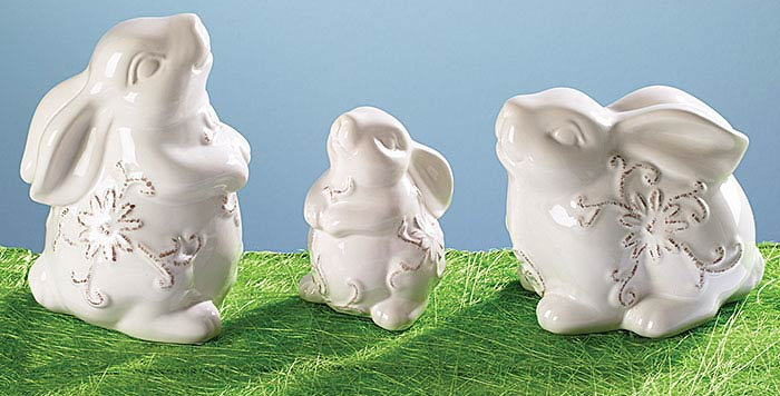 Asst White Bunny Figurine