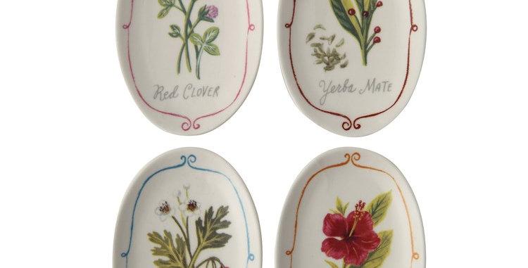 Stoneware Dish w/Flower