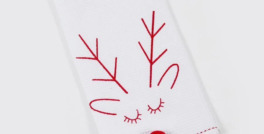 White Rudolph Tea Towel
