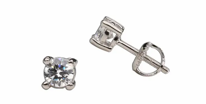Sterling Silver Clear CZ Stud Earrings
