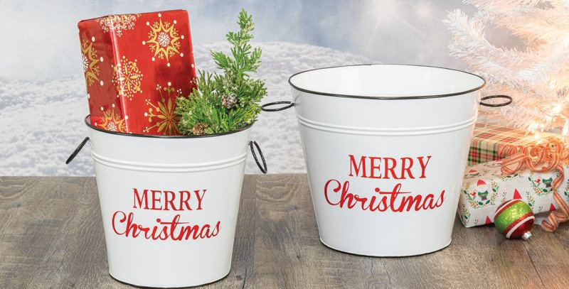 Christmas Bucket Planter 2 pc
