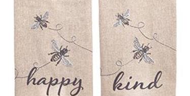 Bee Happy and Bee Kind Tea Towel