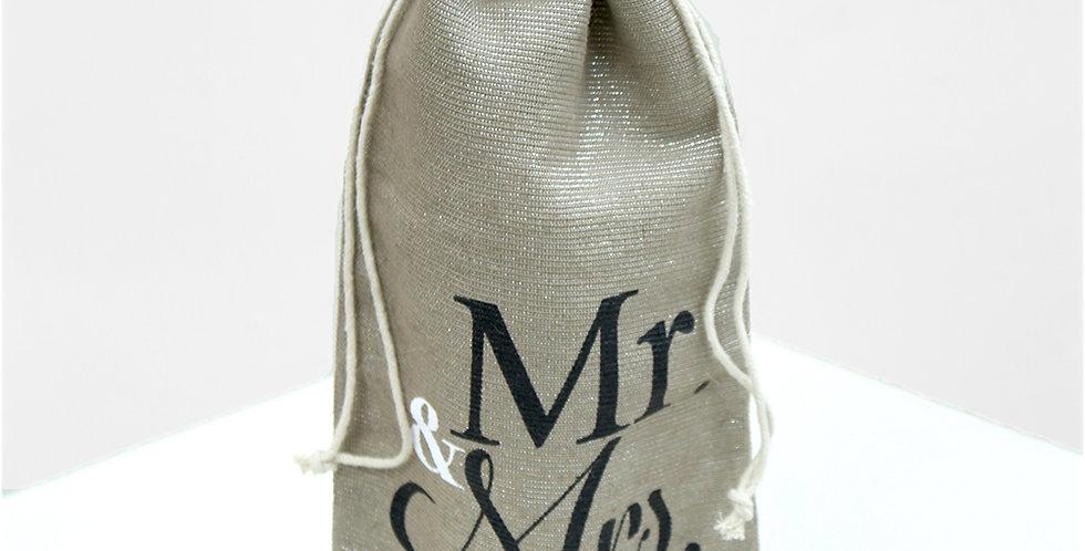 Mr. & Mrs. Shimmer Wine Bag