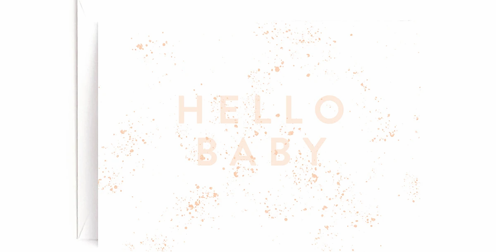 Pink Hello Baby Card
