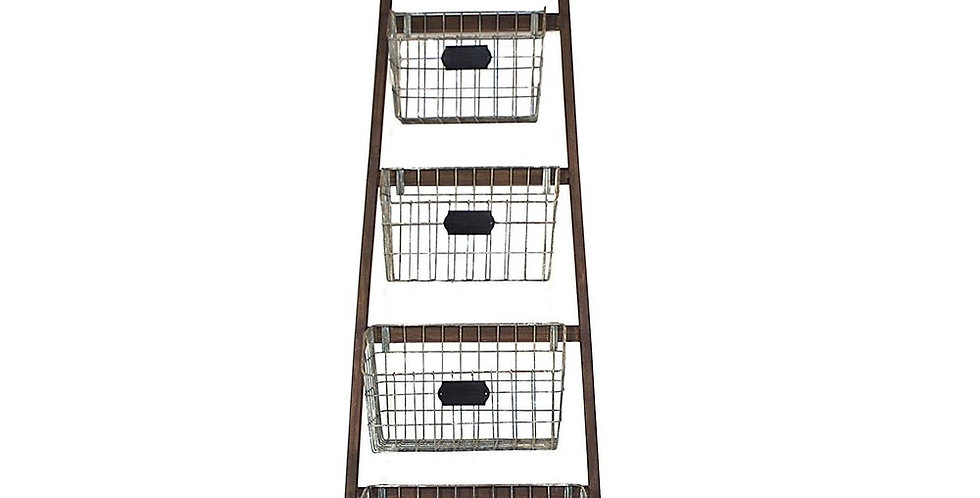 Wood Ladder w 5 wire baskets