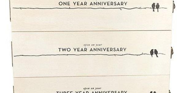 Newlywed's Anniversary Wooden Wine Box by Twine®Anniv Wood Box