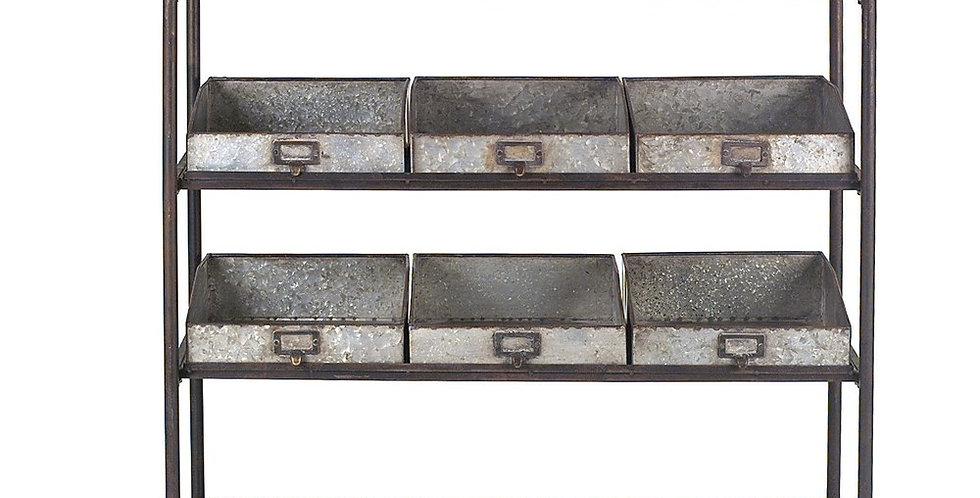 Metal 4 tier Cart w/6 bins