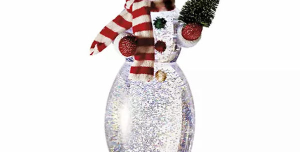 Lighted LED Snowman with Tree Shimmer