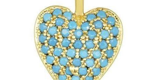 Icons Double Sided Heart Charm Turquoise/White
