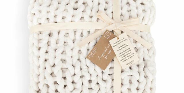 Cream Chunky Knit Blanket