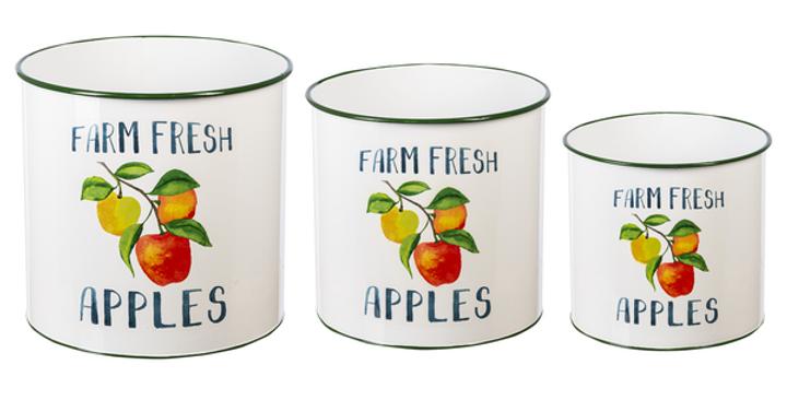 """Farm Fresh Apples"" Enamel Planter (3 pc. set)"