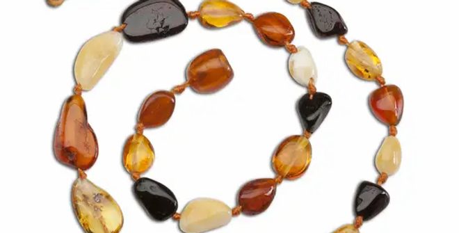 Amber Teething Necklace - Multi Polished