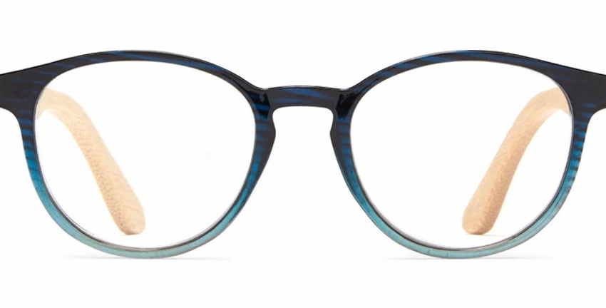 Cartagena: +1.5 Blue/Turquoise Bamboo Round Readers