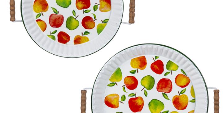 Enamel Apple Pie Tin Tray (2 pc. set)