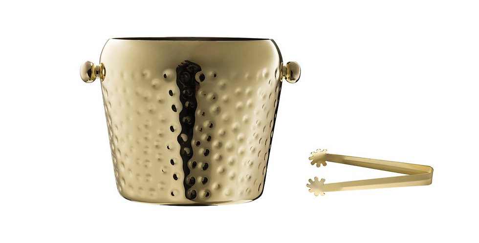 Gold Ice Bucket w/ Tongs