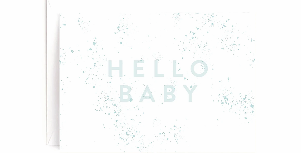 Blue Hello Baby Card