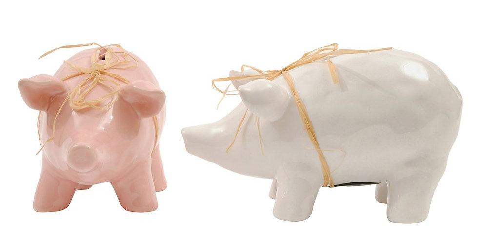 Pink/White Ceramic Piggy Bank