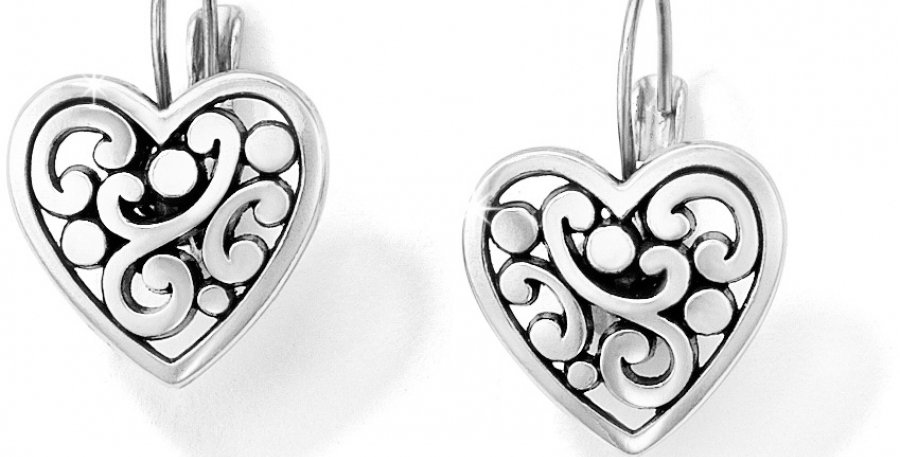 Silver Contemporary Heart Leverback Earring