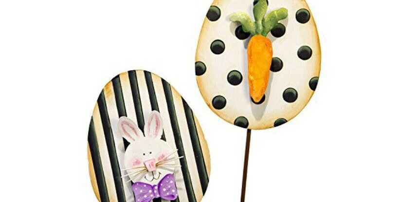 Elegant Eggs with Bunny and Carrot (Set of 2)