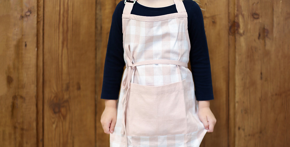 Kid's Pink Gingham Apron
