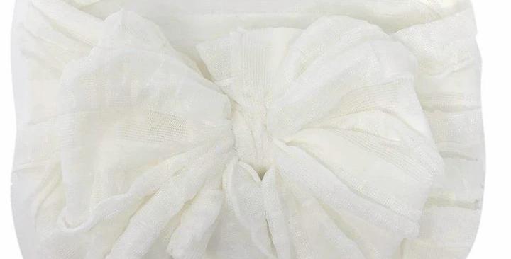 Ruffled Headband- Off White