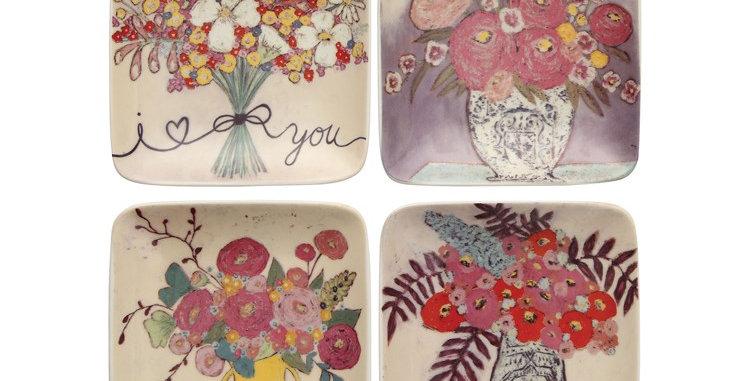 Flower Stoneware Square Trinket Dish