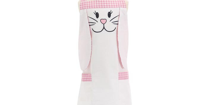 Child Bunny Apron with Pink Gingham