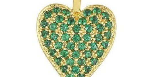 Icons Double Sided Heart Charm Green/White