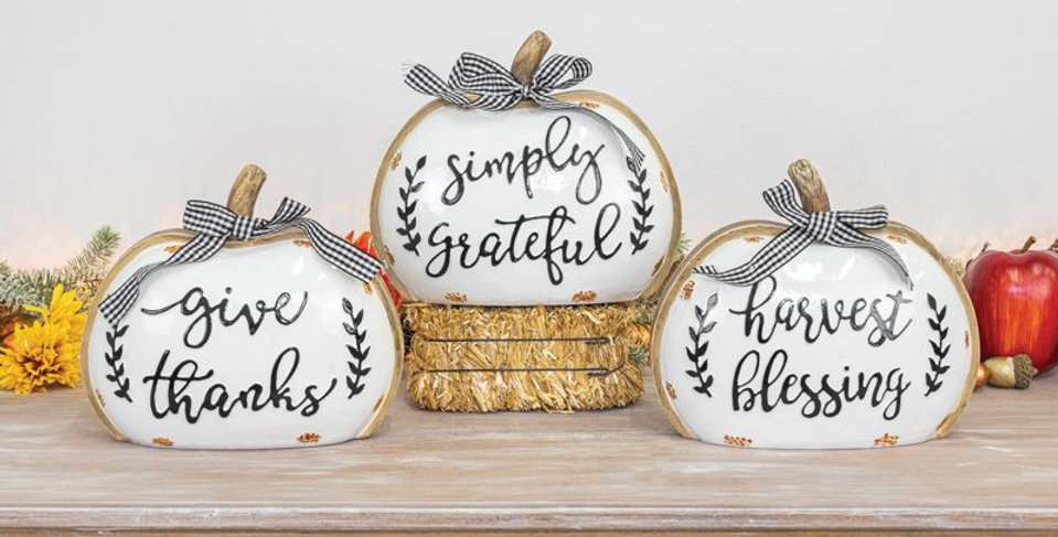 Gingham Bow Fall Pumpkin Tabletop (Large)