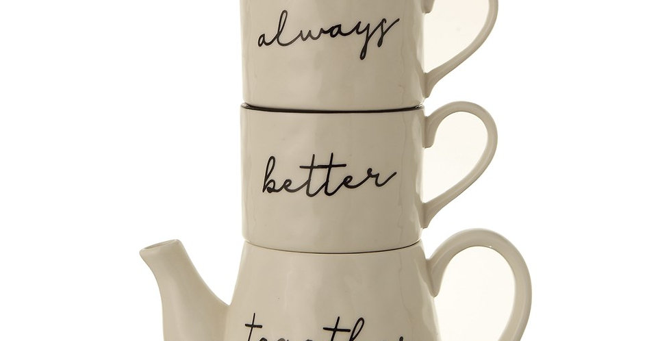 """""""Always Better Together"""" Stackable Tea pot with mugs"""