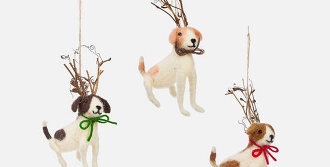 Dog with Twig Antlers Ornament