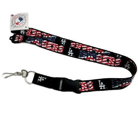 MLB Los Angeles Dodgers lanyard American key chain red white and blue