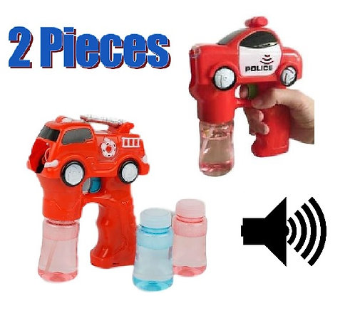 2 Pack of Bubble Guns - Light Up Red Police Car and Fire Truck
