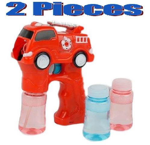 2 Pack Bubble Gun Light Up Fire Truck Engine LED W/ Siren Sounds Shooter Blaster